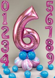 Pink and Turquoise Number Centrepiece with Scatter Balloons