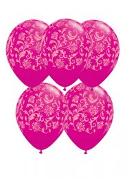 Pink Damask Pattern Party Balloons Pack 5
