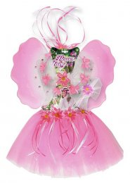 Kids Pink Flower Fairy Costume Kit With Wings
