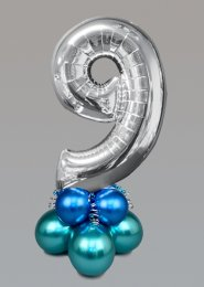 Inflated Medium Silver Chrome Green Number 9 Balloon Centrepiece