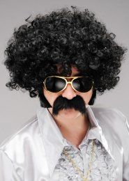 Mens 1970s Disco Curly Black Afro Wig