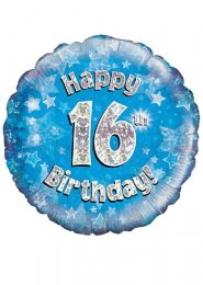 Inflated Blue Happy 16th Birthday Helium Balloon