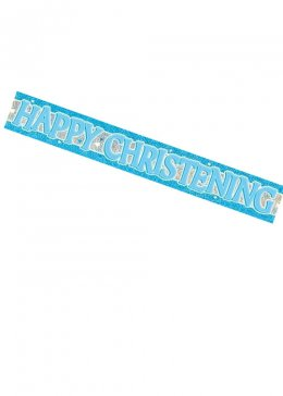 Blue Happy Christening Foil Banner Decoration