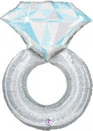 Inflated Large Platinum Wedding Ring Helium Balloon