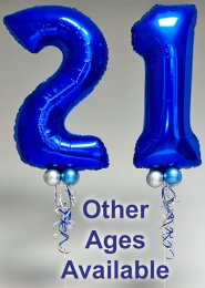 Blue Birthday Inflated Helium Number Balloons Set with Collars