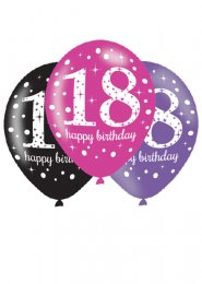 Pink and Black 18th Birthday Party Balloons Pk6