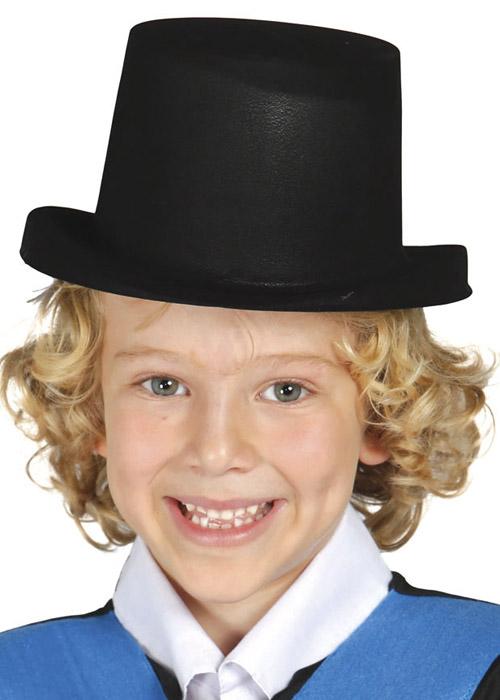 e137f05ac Childrens Size Black Flock Plastic Top Hat