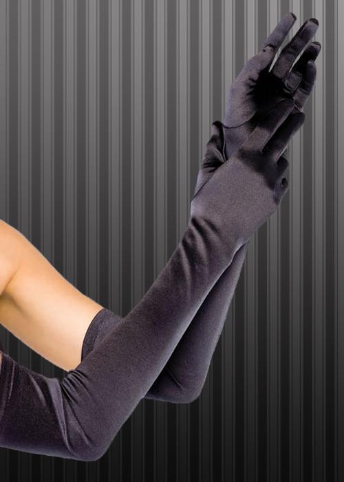 Extra Long 20s Ladies Black Satin Opera Gloves