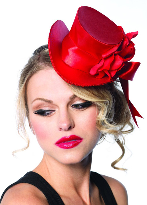 Burlesque Showgirl Red Satin Mini Top Hat with Bow  81ec68452f7