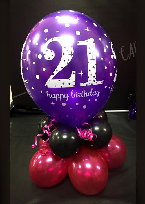 Pink 21st Birthday Balloon Centrepiece