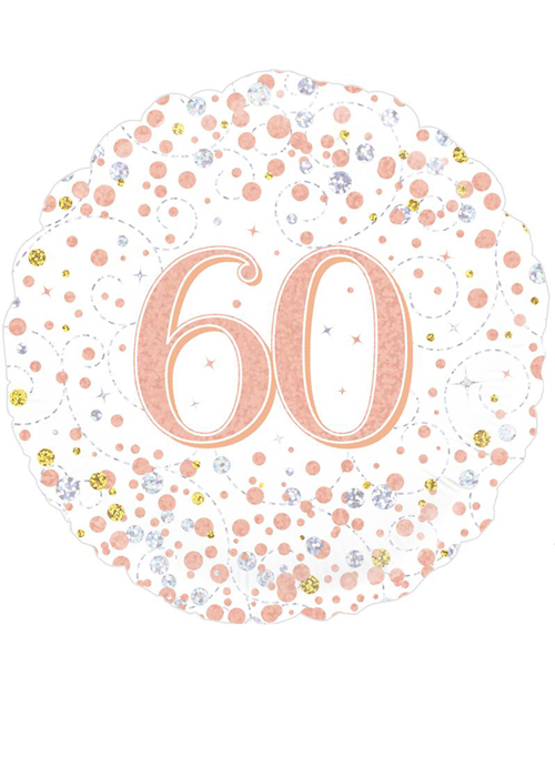 Inflated Rose Gold 60th Birthday Helium Party Balloon