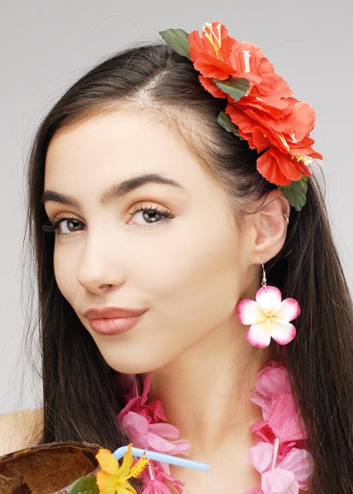 New Orange Hibiscus Flower Hair Clip Fancy Dress Bridal Hawaiian Luau Party