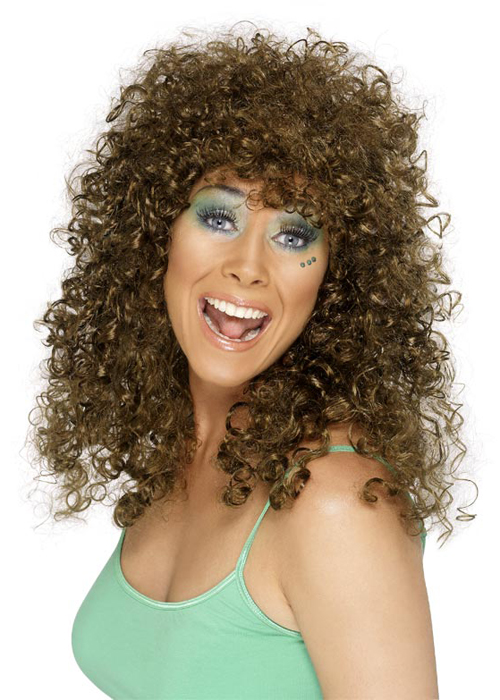 80s bubble perm brown boogie babe ladies wig