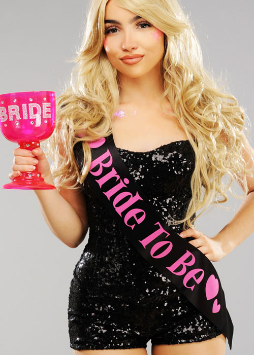 Bride To Be Sash Black With Pink For Fancy Dress