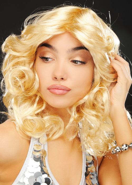 Ladies 1970/'s Blonde Long  layered Flick Wig Madonna Style Charlie/'s Angels