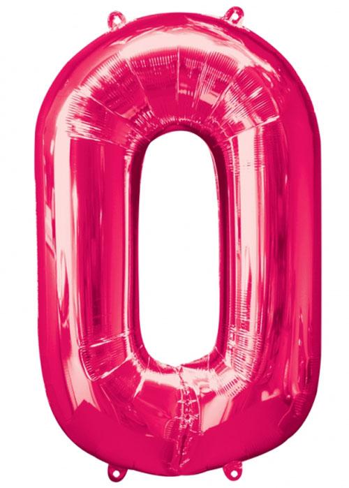Large Pink Number 0 Helium Balloon