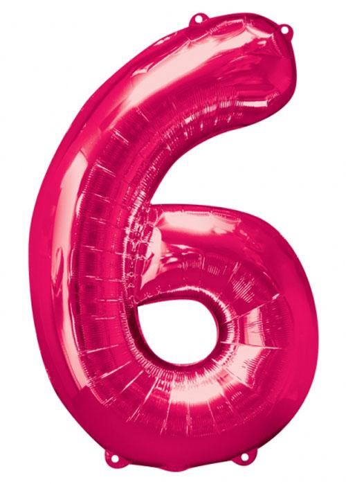 Large Pink Number 6 Helium Balloon