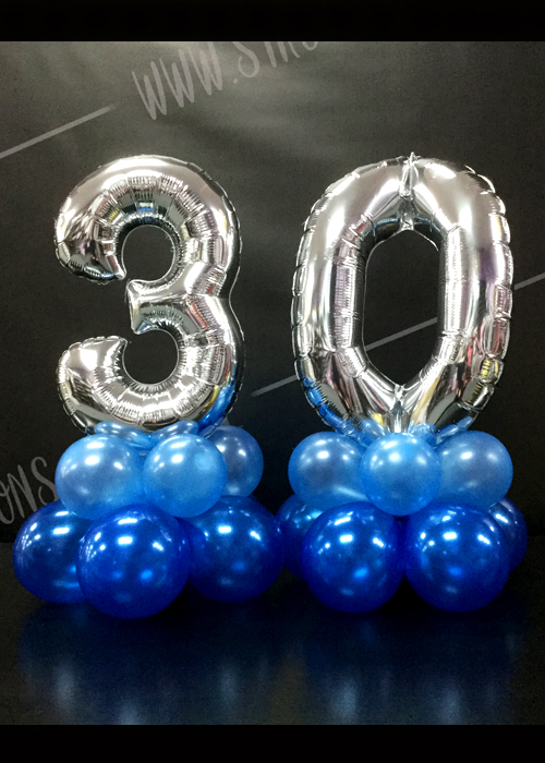 Mini 30th Silver Number Balloon Centrepiece Set