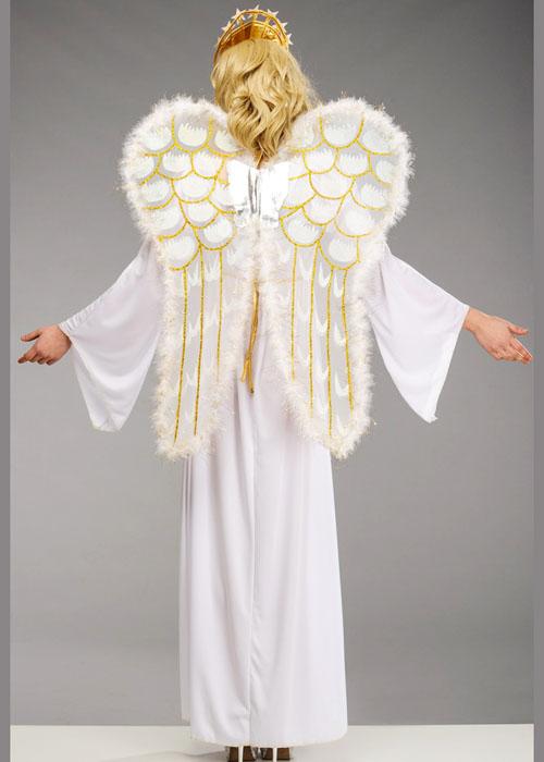 Womens long christmas angel costume with wings ladies