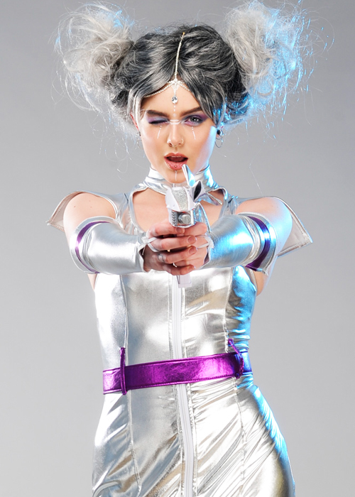 womens silver alien space girl costume
