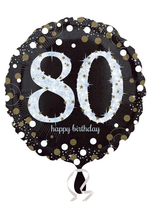 3374201 80th Birthday Sparkle Helium Balloon