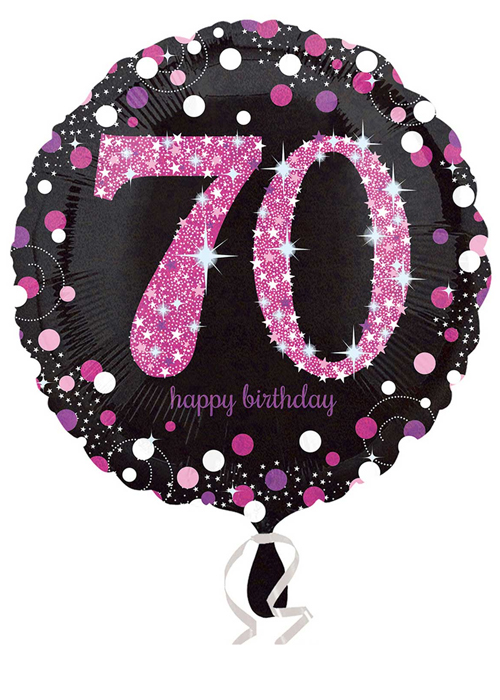 Inflated Pink And Black 70th Birthday Helium Balloon