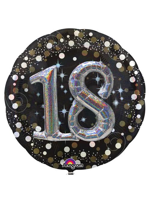 Large Sparkling Black 3D 18th Birthday Helium Balloon