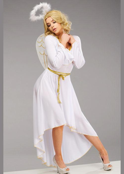 Adult womens white christmas angel costume ladies