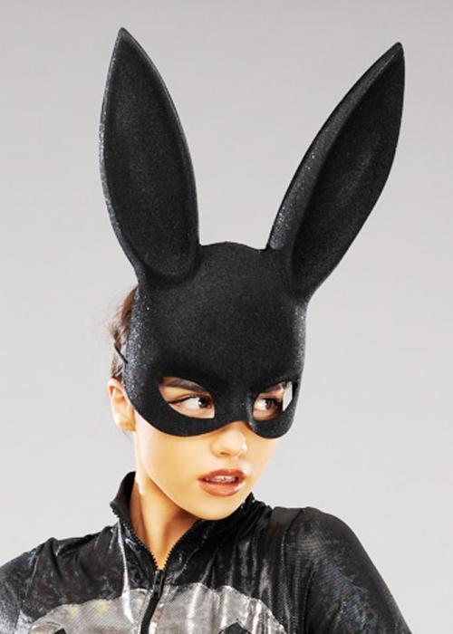Womens Black Glitter Bunny Rabbit Eye Mask