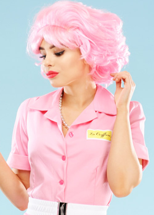 ladies 1950s fancy dress pink frenchy wig. Black Bedroom Furniture Sets. Home Design Ideas