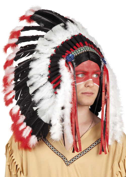 Black And Red Indian Chief Feather Headdress