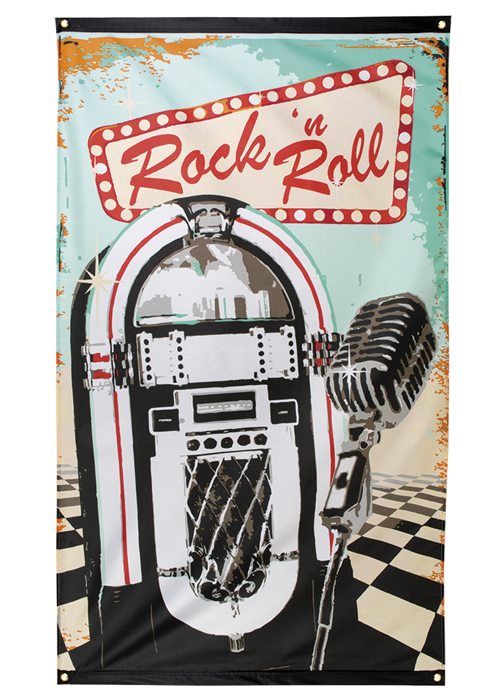 1950s Rock N Roll Juke Box Flag Party Decoration