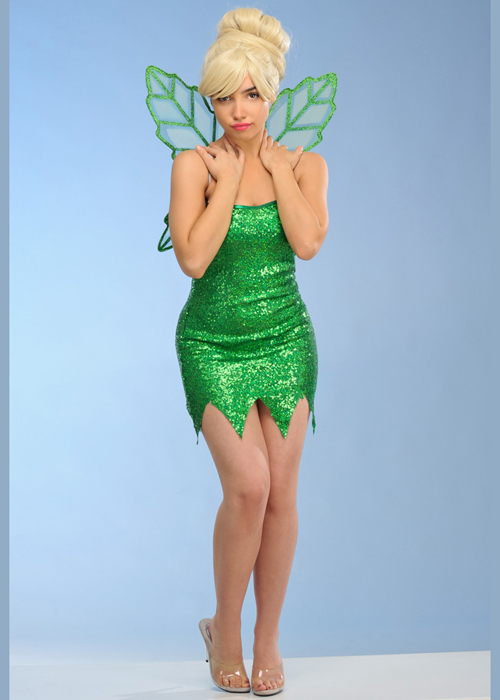Womens Tinkerbell Style Green Sequin Fairy Costume
