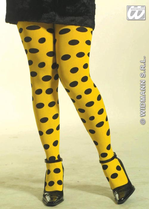 Ladies 80s Bright Coloured Spotty Tights