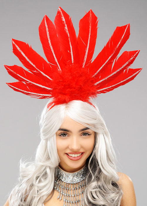 Show Girl Headband Red Black Feather Can Can Headpiece Fancy Dress