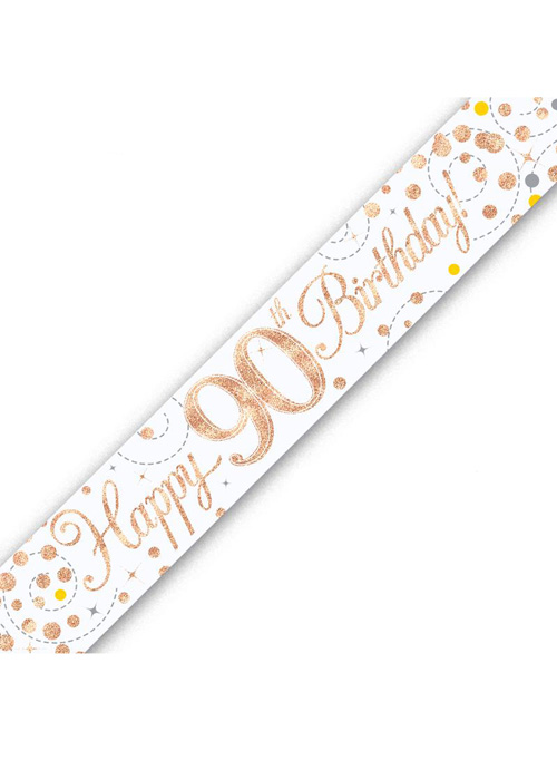 Sparkling Fizz Rose Gold /& White 90th Birthday Banner
