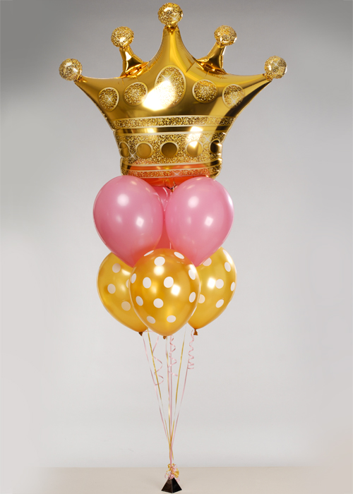 Pink And Gold Royal Crown 7 Balloon Cluster