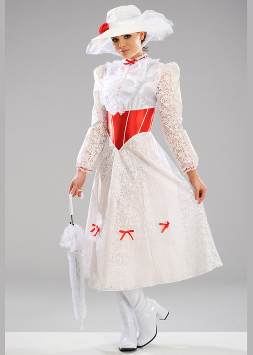 Ladies White Jolly Holiday Mary Poppins Costume