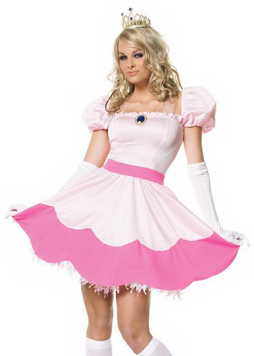 Super Mario Style Pink Princess Peaches Costume
