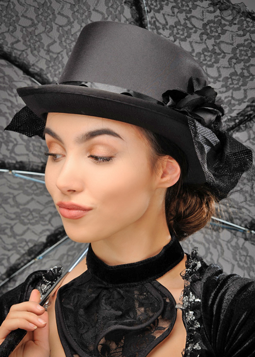 ea06b91af Womens Victorian Lady Black Top Hat With Net