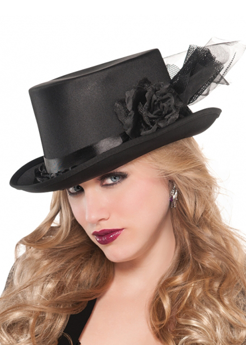 womens black top hat with net ebay