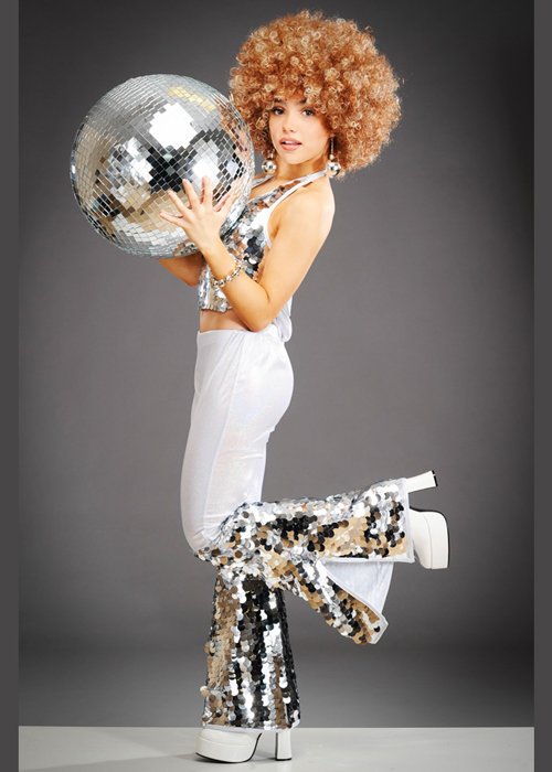 ladies silver 70s disco diva costume