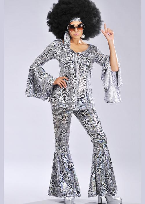 Ladies 1970s Silver Dancing Queen Costume Ebay