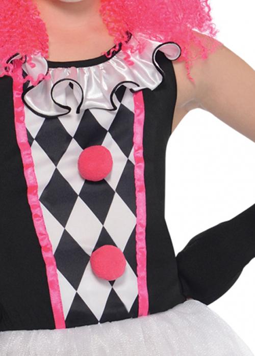 Girls Halloween Gothic Pink Harlequin Clown Costume