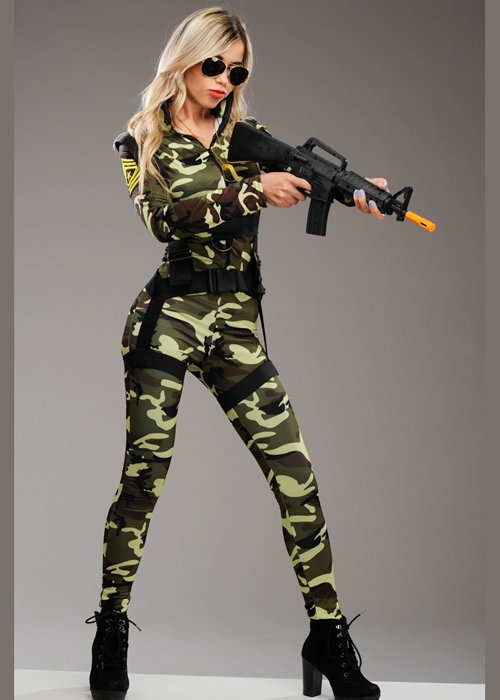 Womens Deluxe Camouflage Army Catsuit Costume