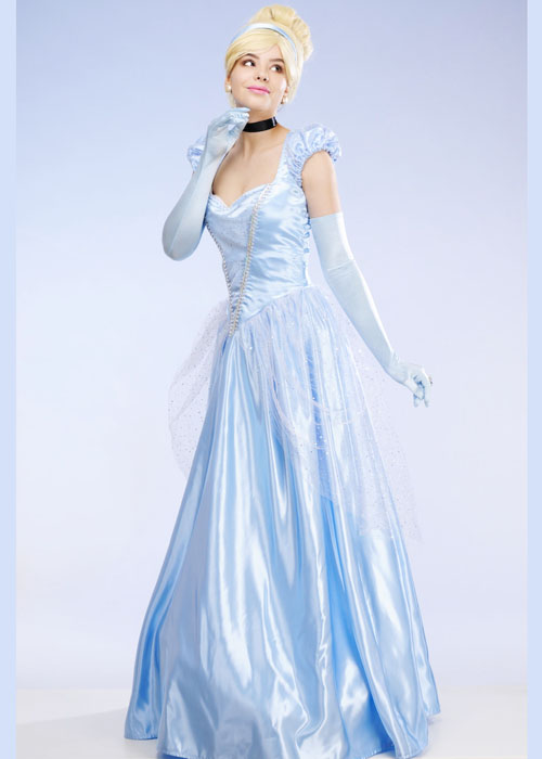 Womens Long Blue Princess Classic Cinderella Costume