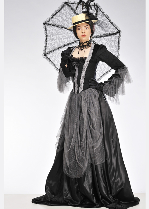womens black and grey victorian lady costume