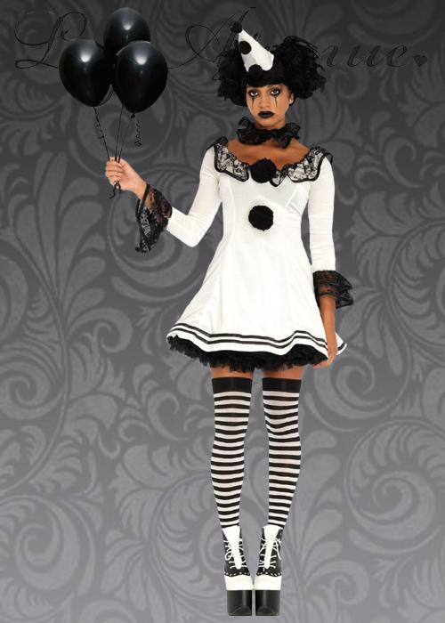 sc 1 st  Struts Fancy Dress & Ladies Leg Avenue Pierrot Clown Costume