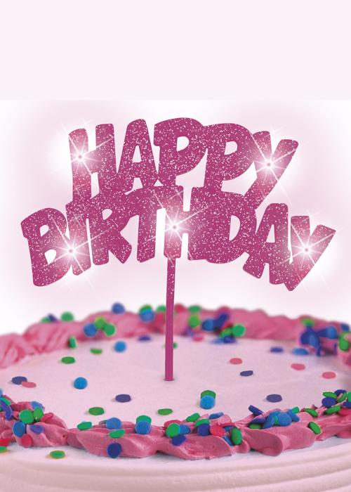 Astonishing Pink Flashing Happy Birthday Pick Cake Decoration Personalised Birthday Cards Paralily Jamesorg