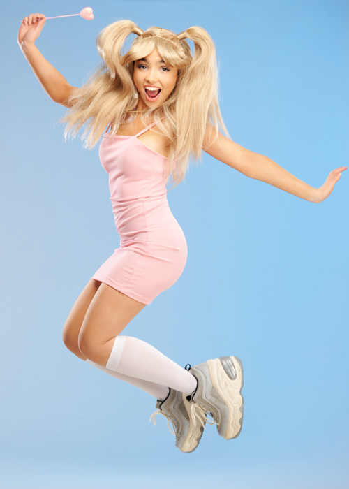 Womens Pink Baby Spice Style Costume With Wig
